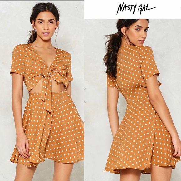 Nasty Gal Dresses & Skirts - Nasty Gal Polka Dot Dress V-neckline NWT Size 2